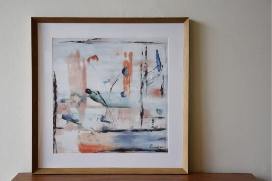 abstract-painting-on-paper-with-frame